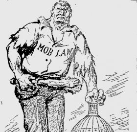 Cartoon from the front page of the Afro-American newspaper, July 25, 1919.