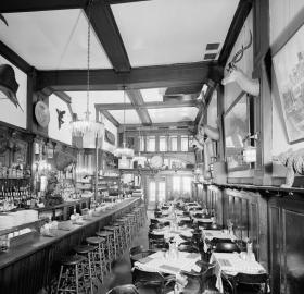 1980s photo of Old Ebbitt Grill interior from Historic American Buildings Survey. (Source: HABS DC-315, Library of Congress)