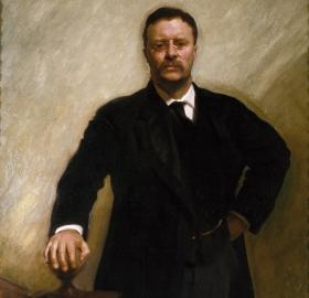 Official presidential portrait of Theodore Roosevelt, painted by John Singer Sargent in 1903. Roosevelt stands proudly upon the landing of a staircase.