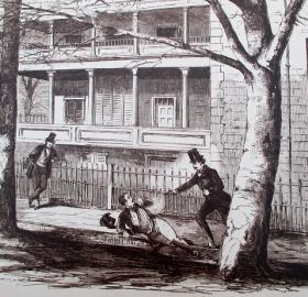 Sketch of Daniel Sickles shooting Philip Barton Key