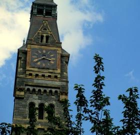 Healy Hall clock tower. (Photo credit: Ariel Veroske)